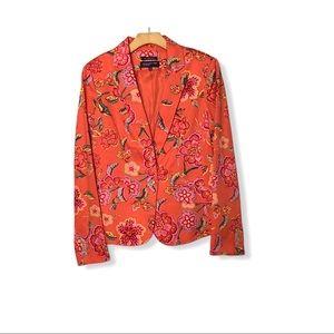 Orange Colorful Floral Blazer